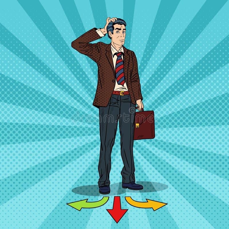 Estallido Art Businessman Choosing la manera en cruces stock de ilustración