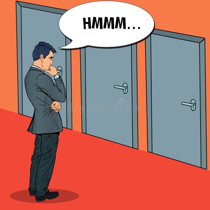 Estallido Art Businessman Choosing la puerta a la derecha ilustración del vector