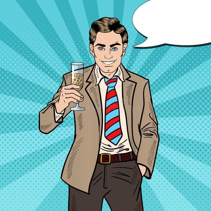 Estallido Art Businessman con Champagne Glass en partido de la celebración del día de fiesta libre illustration