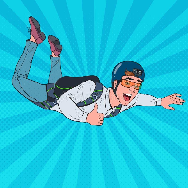 Estallido Art Businessman Flying con el paracaídas Skydiver feliz del paracaidista del hombre en el aire ilustración del vector