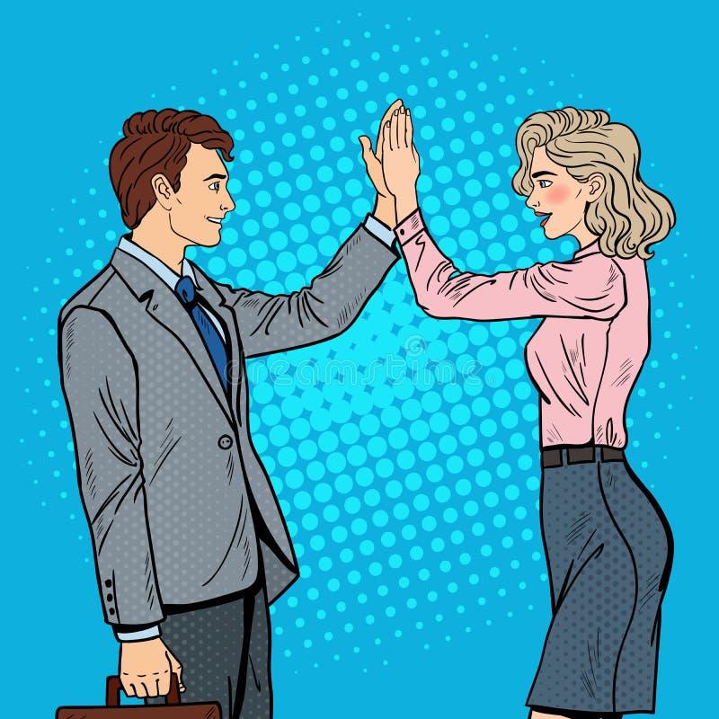 Estallido Art Businessman Giving High Five a la mujer de negocios ilustración del vector