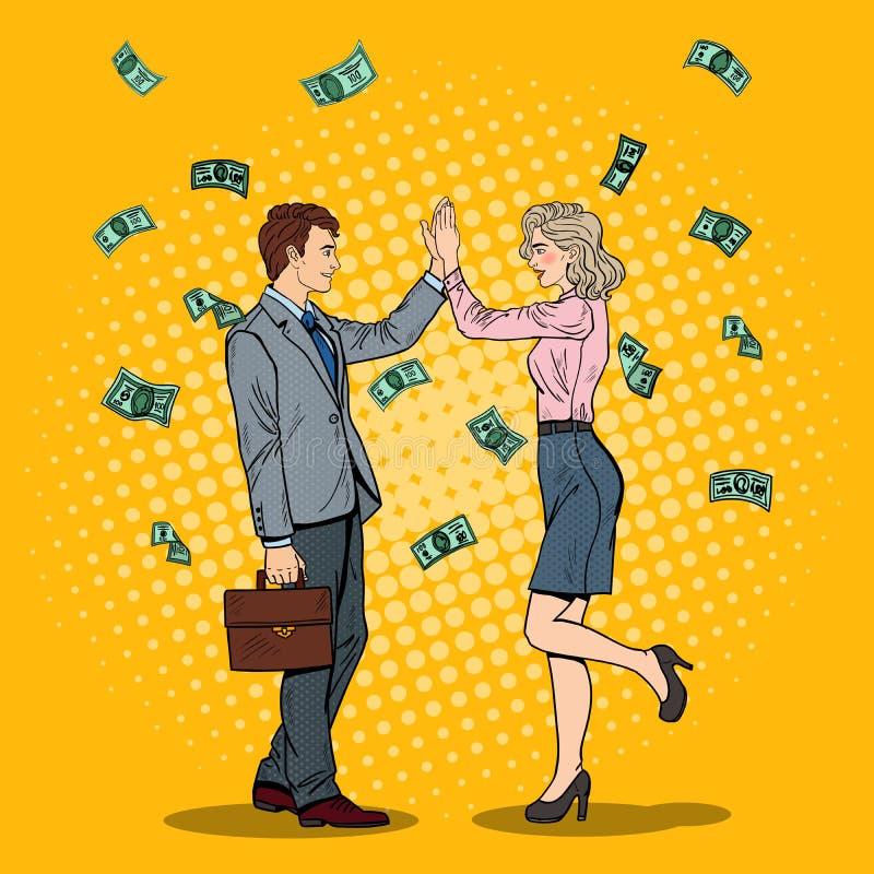 Estallido Art Businessman Giving High Five a la mujer de negocios El caer abajo dinero stock de ilustración