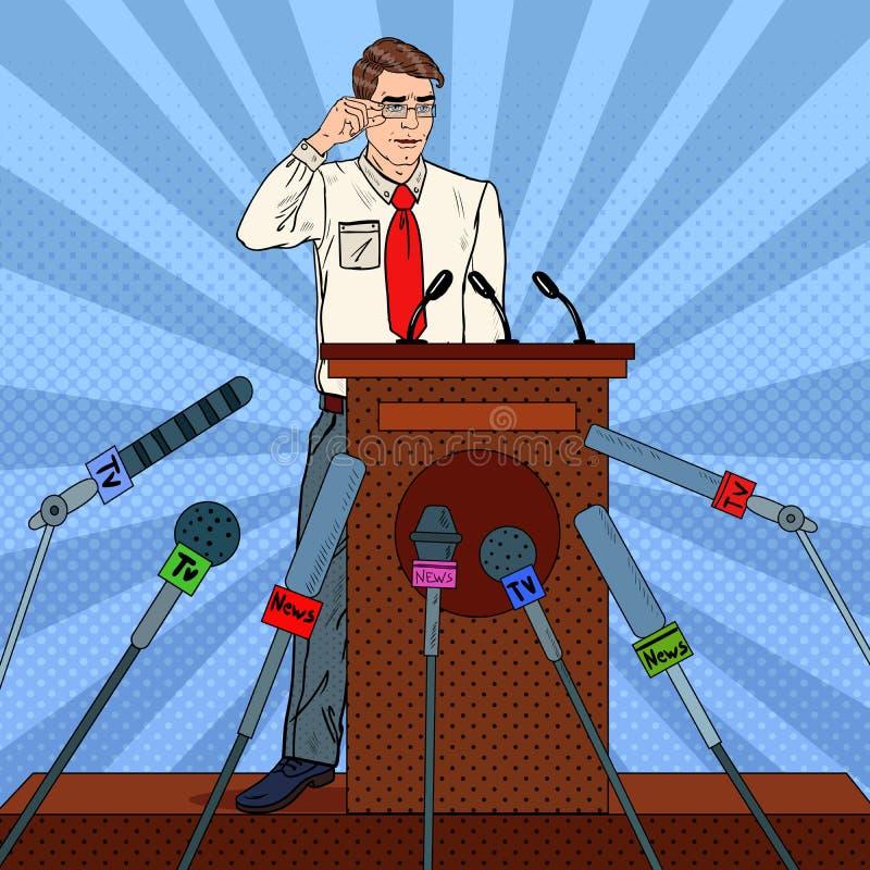 Estallido Art Businessman Giving Press Conference Entrevista de los medios de comunicación ilustración del vector