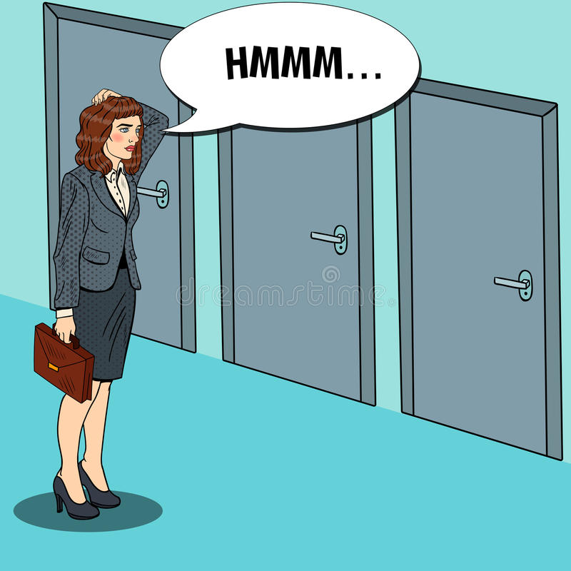 Estallido Art Businesswoman Choosing la puerta a la derecha ilustración del vector