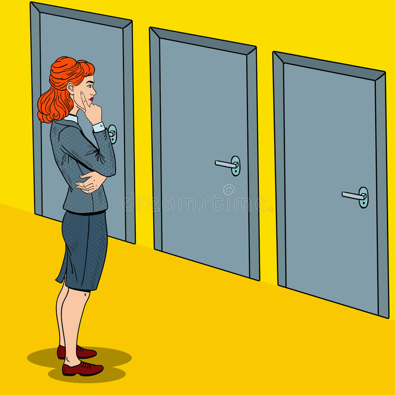 Estallido Art Businesswoman Choosing la puerta a la derecha libre illustration