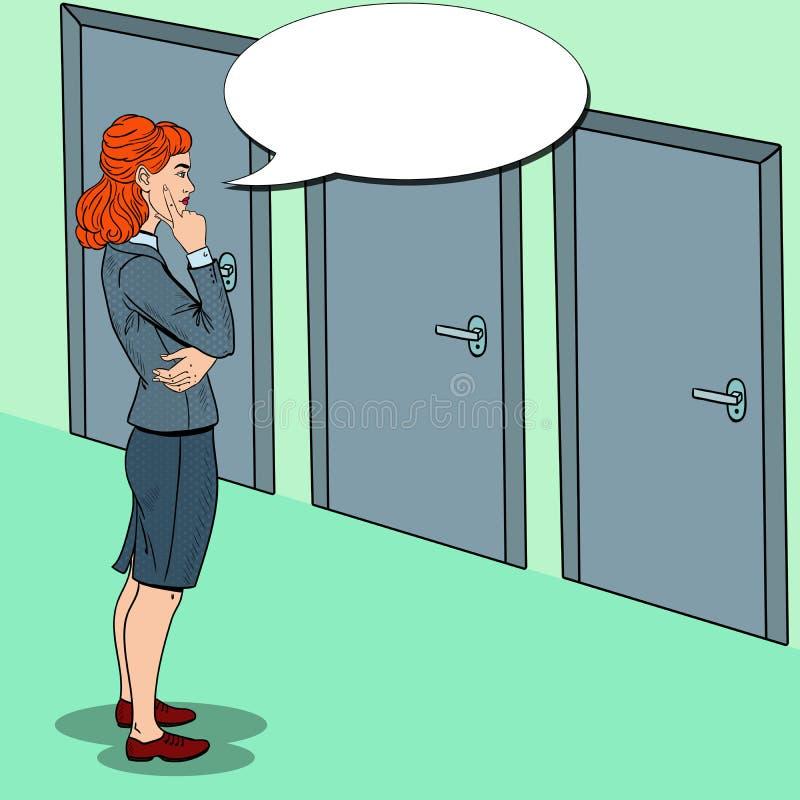 Estallido Art Businesswoman Choosing la puerta a la derecha stock de ilustración