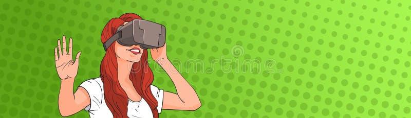 Estallido Art Colorful Retro Style de los vidrios de Digitaces de la realidad virtual del desgaste de mujer ilustración del vector