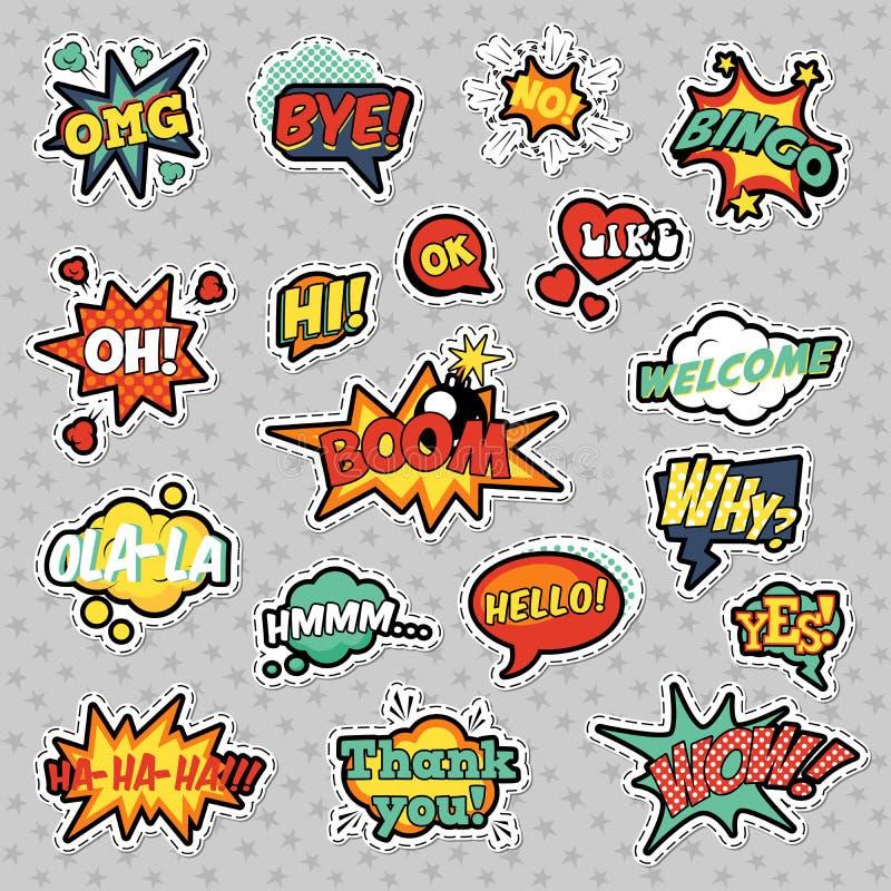 Estallido Art Comic Speech Bubbles Set con formas frescas punteadas tono medio con las expresiones wow, bingo, como ilustración del vector