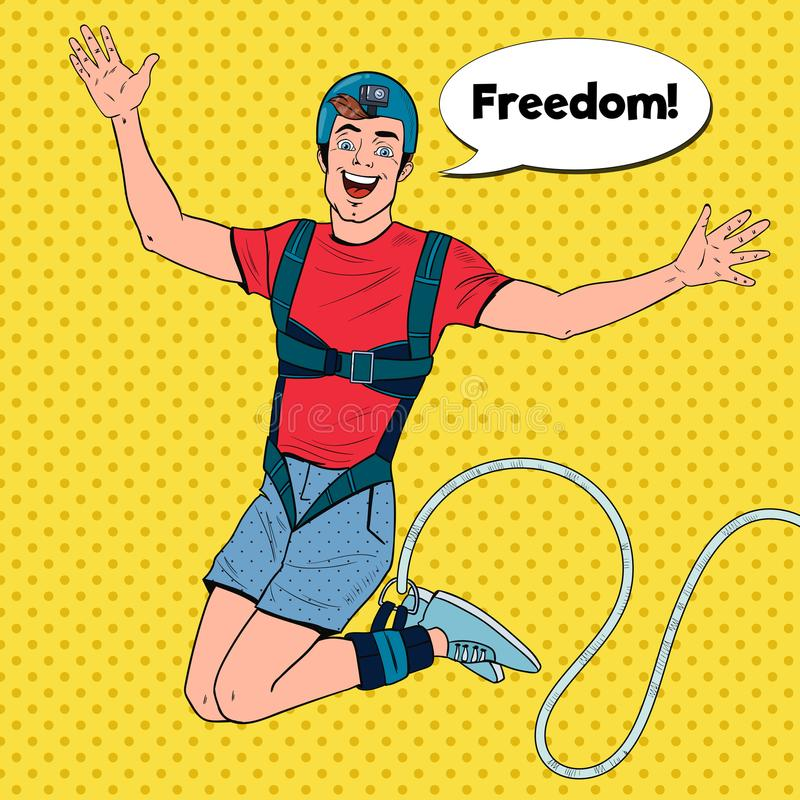 Estallido Art Excited Man Jumping Bungee Deportes extremos Guy Ropejumping feliz stock de ilustración