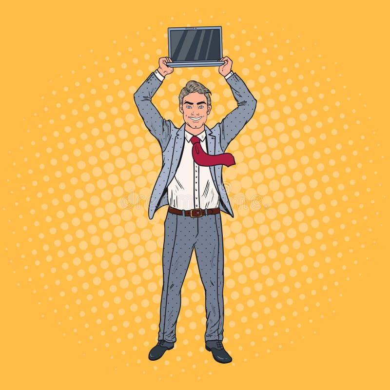 Estallido Art Happy Businessman Holding Laptop sobre su cabeza stock de ilustración