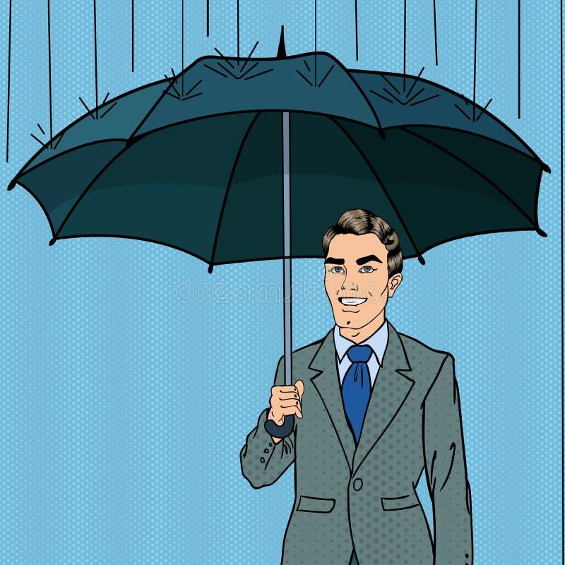 Estallido Art Happy Businessman Under la lluvia con el paraguas ilustración del vector