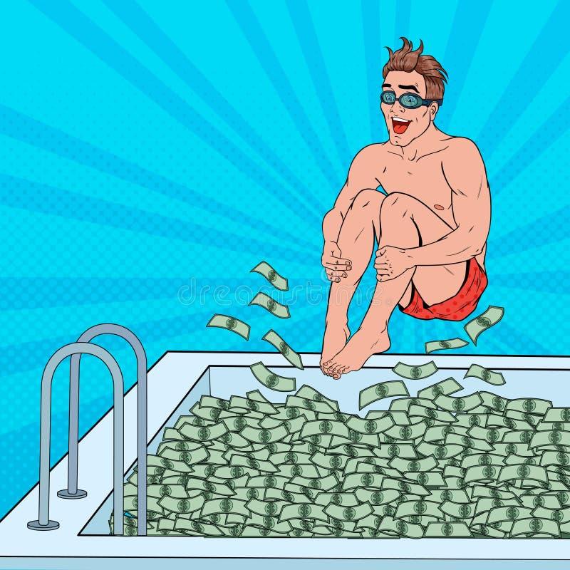 Estallido Art Happy Man Jumping a la piscina del dinero Hombre de negocios acertado Éxito financiero, concepto de la riqueza stock de ilustración