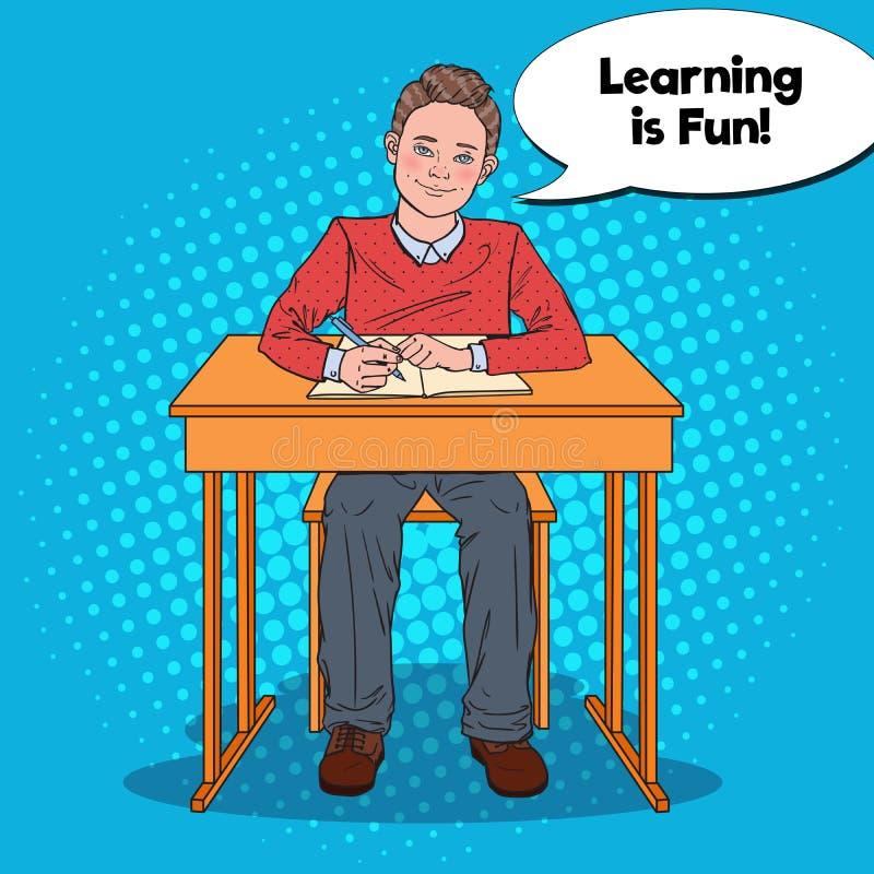 Estallido Art Happy Schoolboy Doing Homework Concepto de la educación ilustración del vector