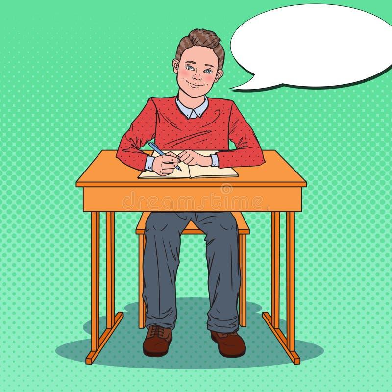 Estallido Art Happy Schoolboy Sitting en el escritorio de la escuela en una sala de clase Concepto de la educación stock de ilustración