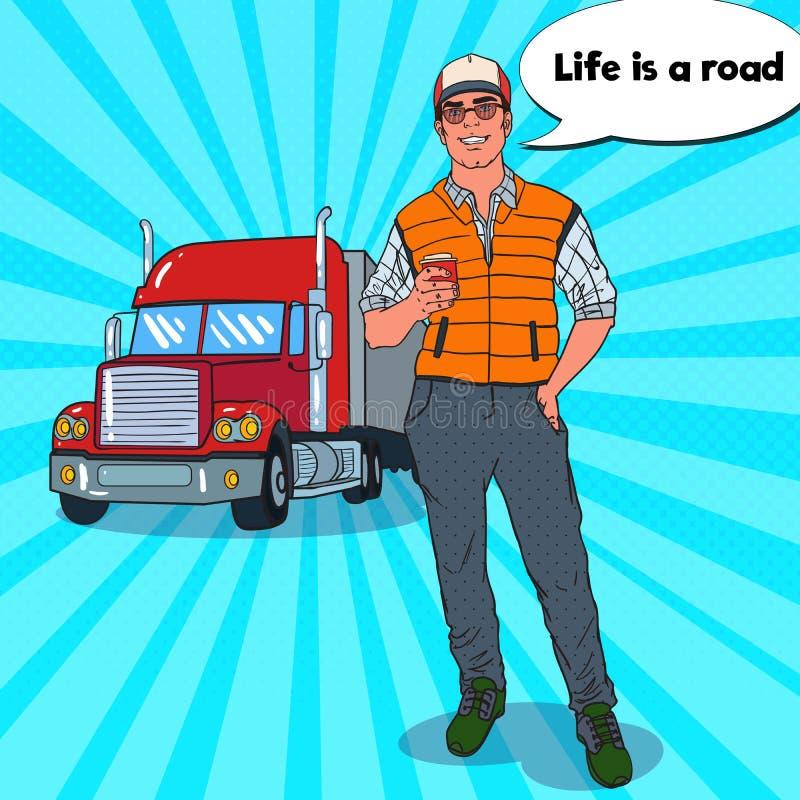 Estallido Art Happy Trucker con la taza de café Conductor profesional libre illustration