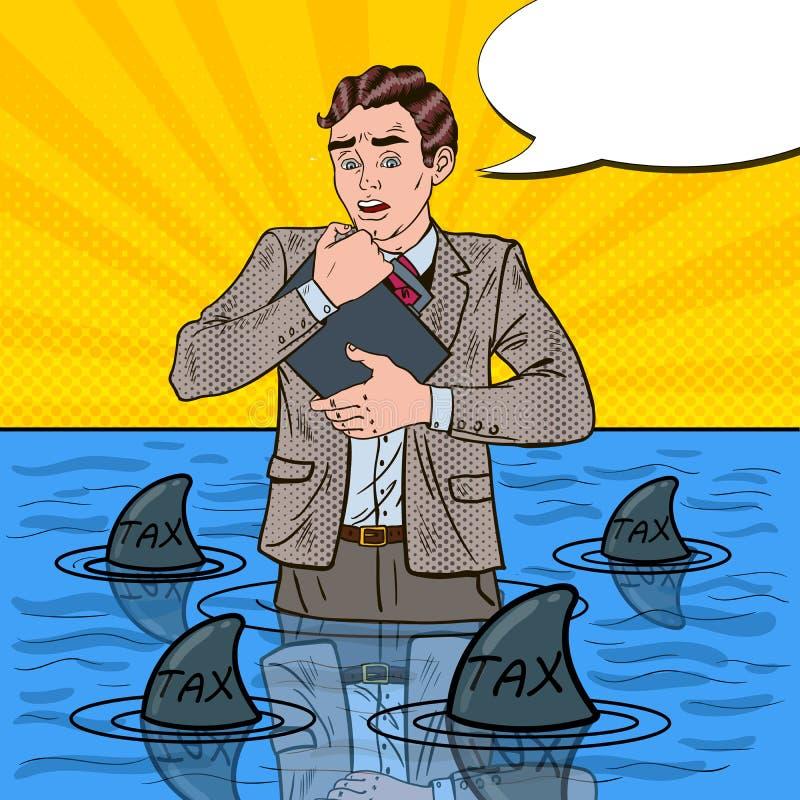 Estallido Art Helpless Businessman Swimming con los tiburones ilustración del vector