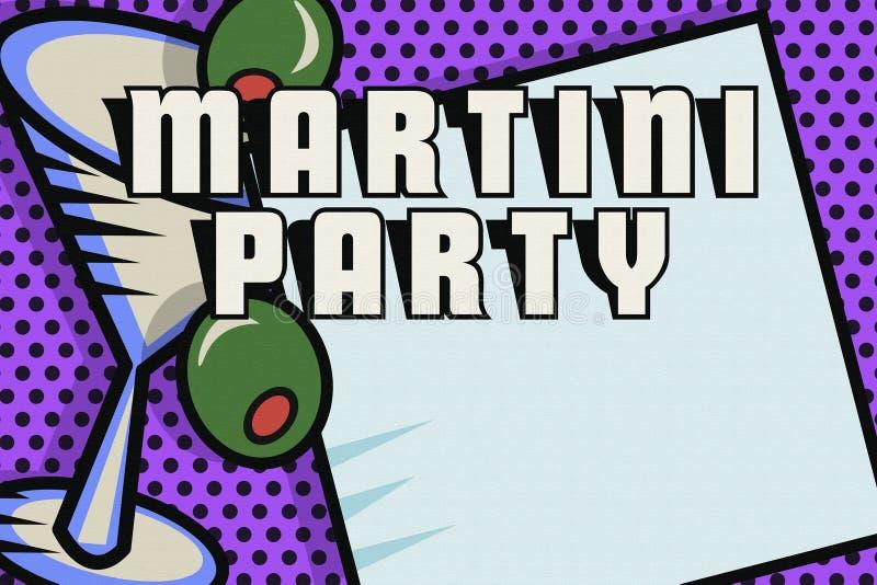 Estallido Art Logo de la tarjeta de la invitación del partido de Martini ilustración del vector