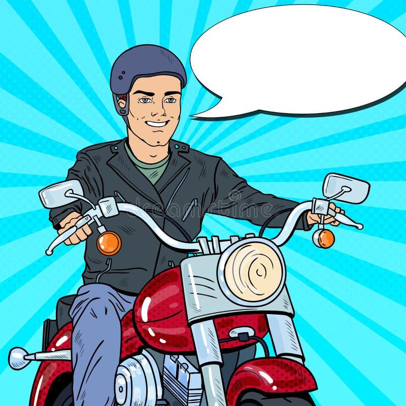 Estallido Art Man Biker Riding un interruptor ilustración del vector