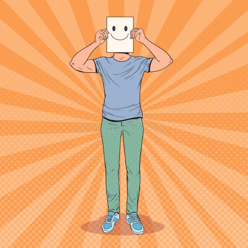 Estallido Art Man con Smiley Emoticon en la hoja de papel Guy Holding feliz un Emoticon sonriente de la cara stock de ilustración