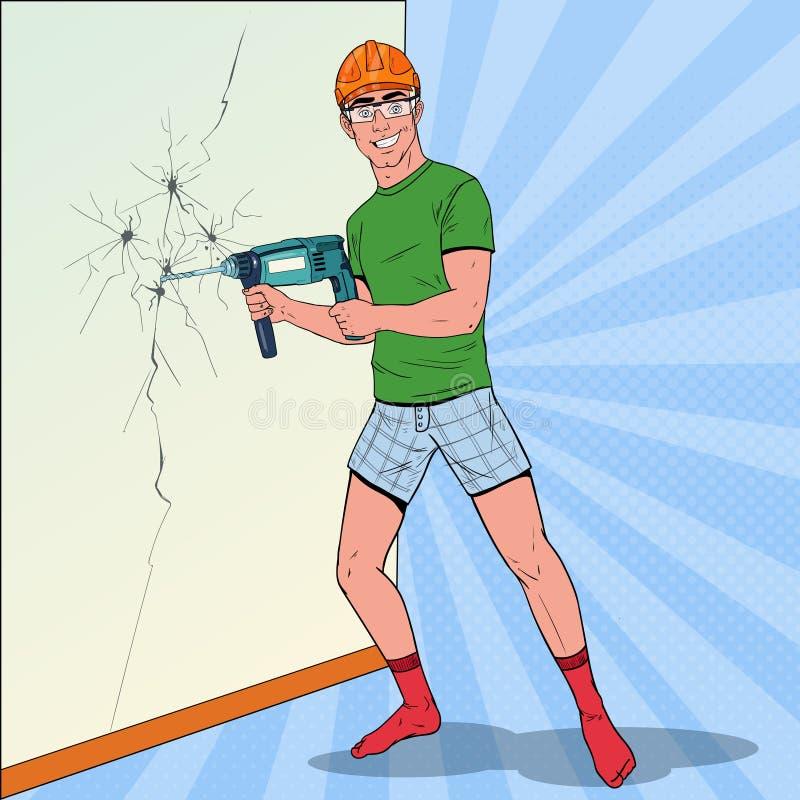 Estallido Art Man Drilling la pared con el perforador Reparador en casco con el taladro ilustración del vector