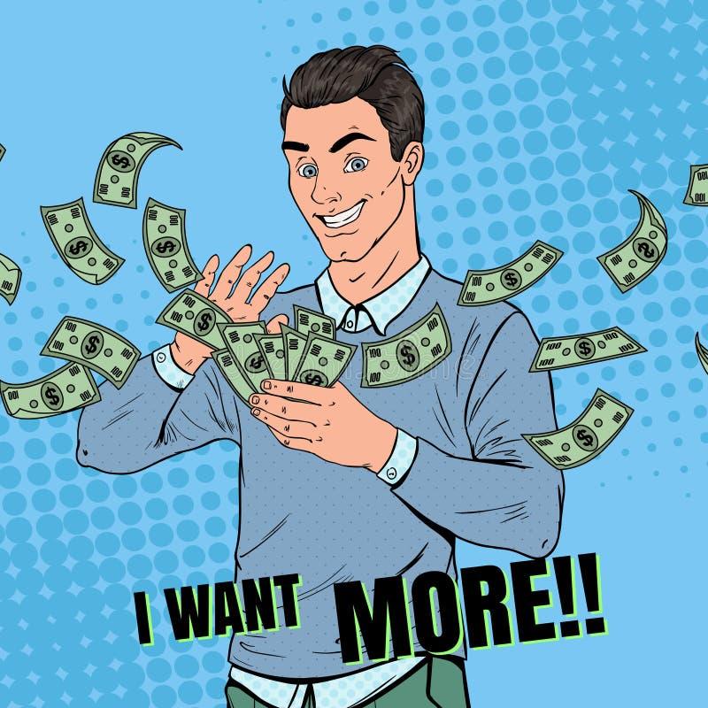 Estallido Art Rich Man Throwing Dollar Banknotes Hombre de negocios acertado con el dinero ilustración del vector