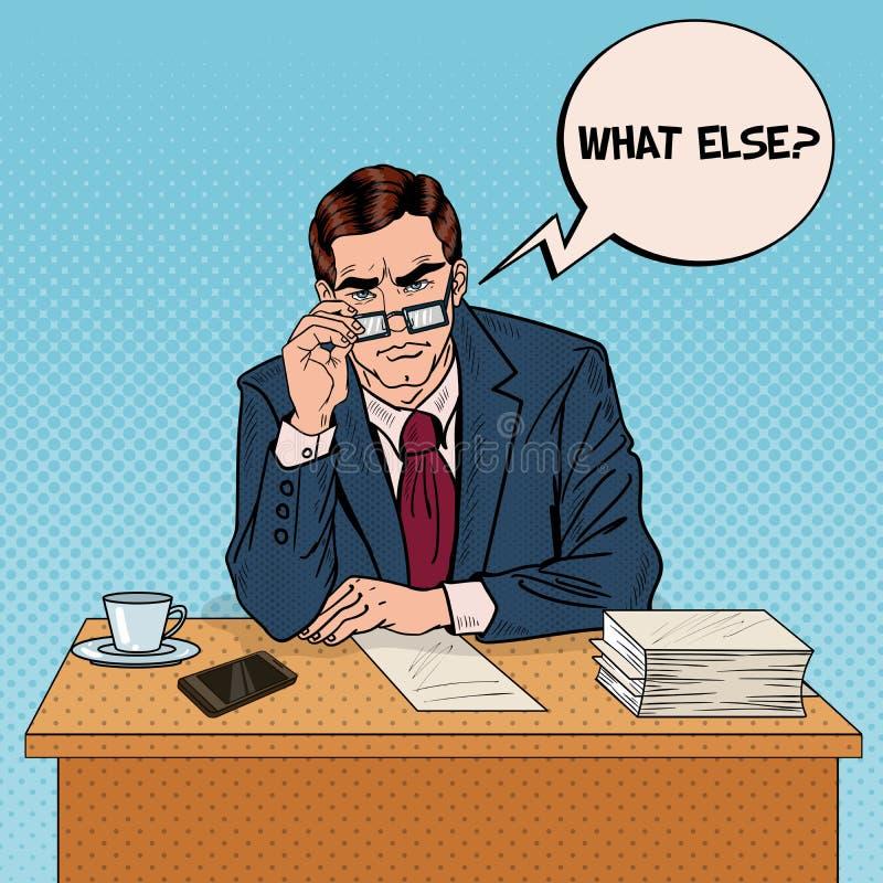 Estallido Art Serious Businessman con las lentes en el trabajo de oficina polivalente stock de ilustración