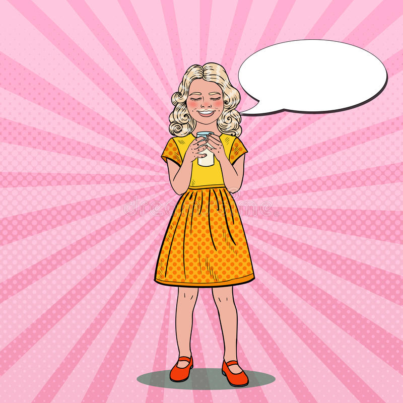 Estallido Art Smiling Girl Drinking Milk Consumición sana ilustración del vector
