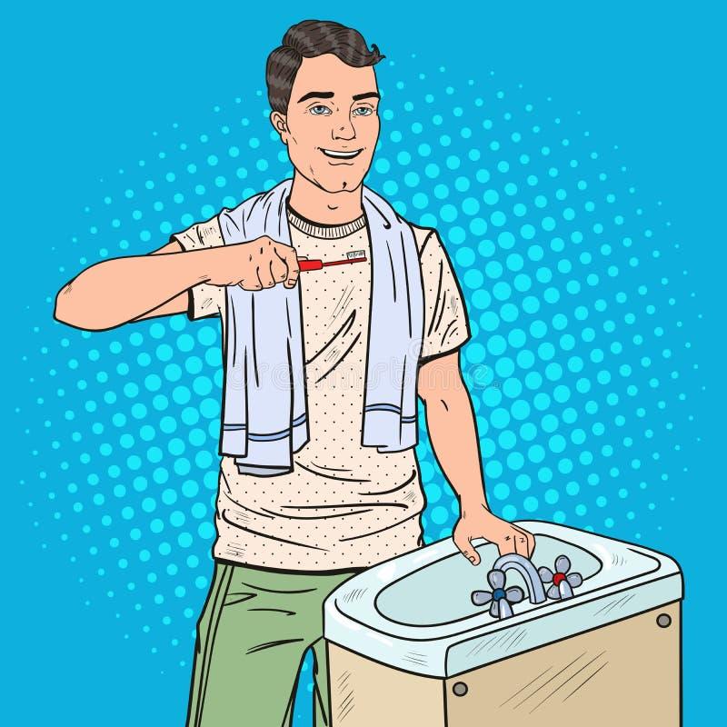 Estallido Art Smiling Man Brushing Teeth en cuarto de baño Higiene dental libre illustration