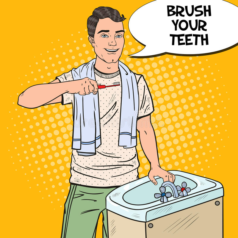 Estallido Art Smiling Man Brushing Teeth en cuarto de baño Higiene oral ilustración del vector