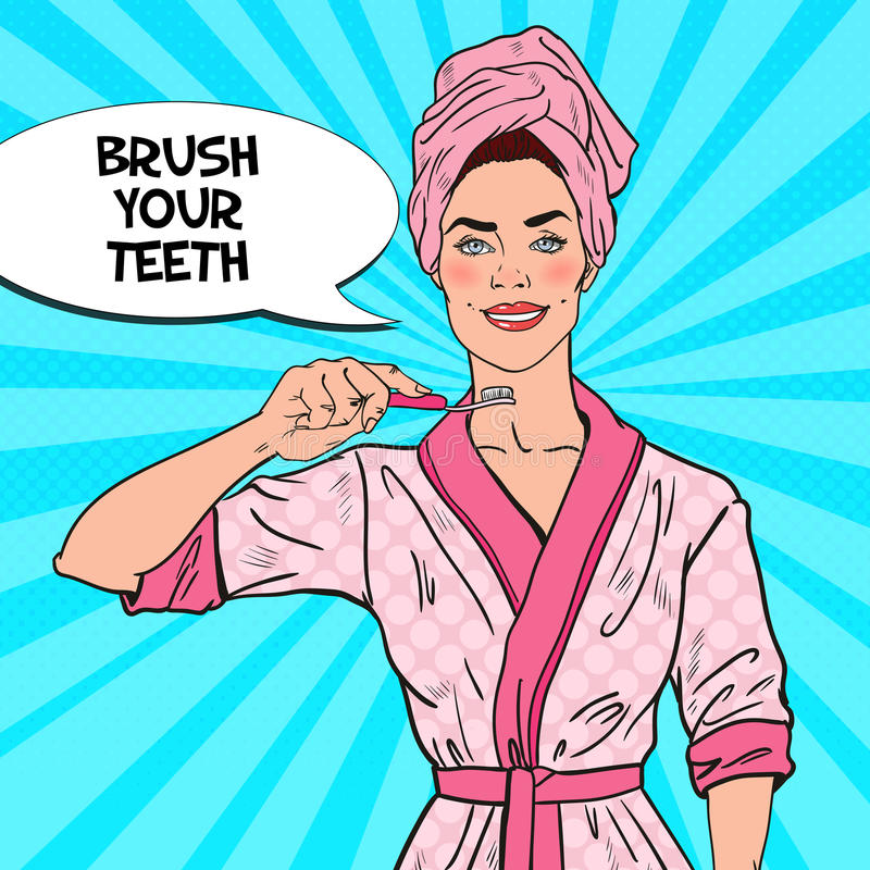Estallido Art Smiling Pretty Woman con el cepillo de dientes Higiene dental stock de ilustración