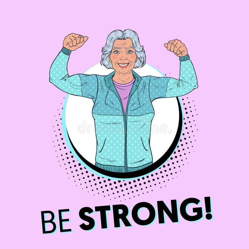 Estallido Art Smiling Senior Mature Woman que muestra los músculos Cartel sano de la forma de vida Abuela fuerte feliz libre illustration