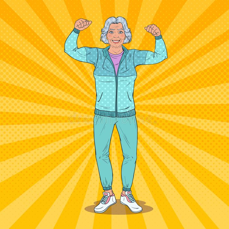 Estallido Art Smiling Senior Mature Woman que muestra los músculos Forma de vida sana Abuela feliz ilustración del vector