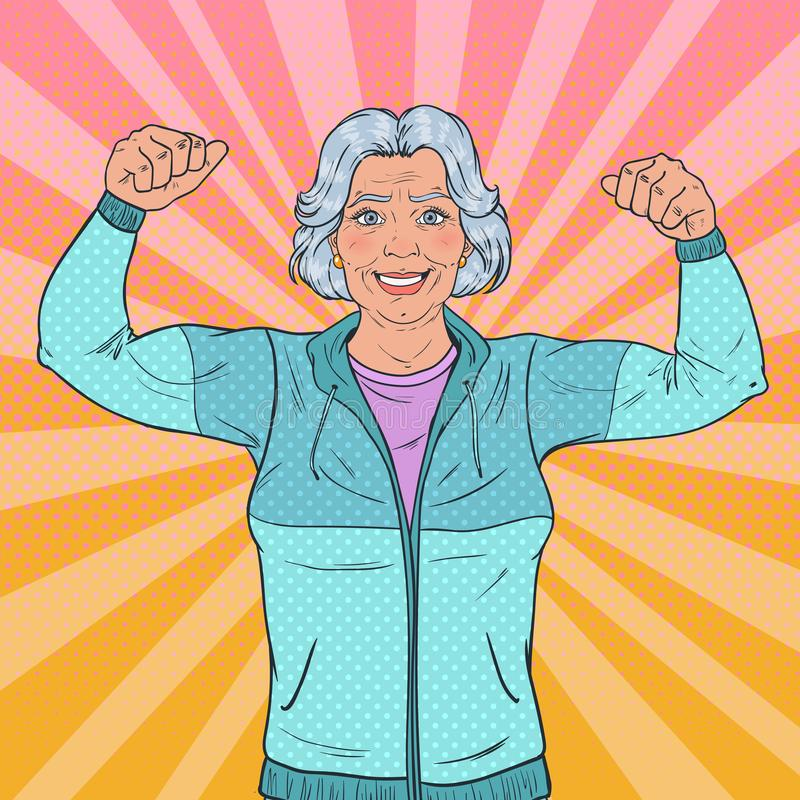 Estallido Art Smiling Senior Mature Woman que muestra los músculos Forma de vida sana Abuela fuerte feliz