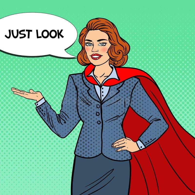 Estallido Art Smiling Super Businesswoman en cabo rojo que señala en espacio de la copia presentación stock de ilustración