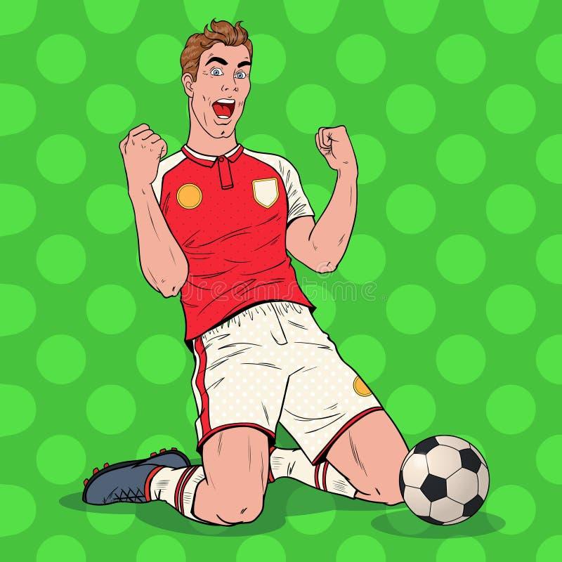 Estallido Art Soccer Player Celebrating Goal Futbolista feliz, concepto del deporte stock de ilustración