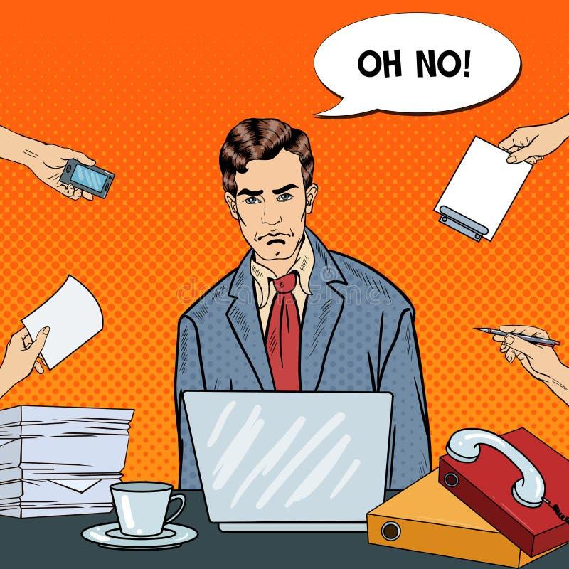 Estallido Art Stressed Businessman con el ordenador portátil en el trabajo de oficina multi de la asignación stock de ilustración