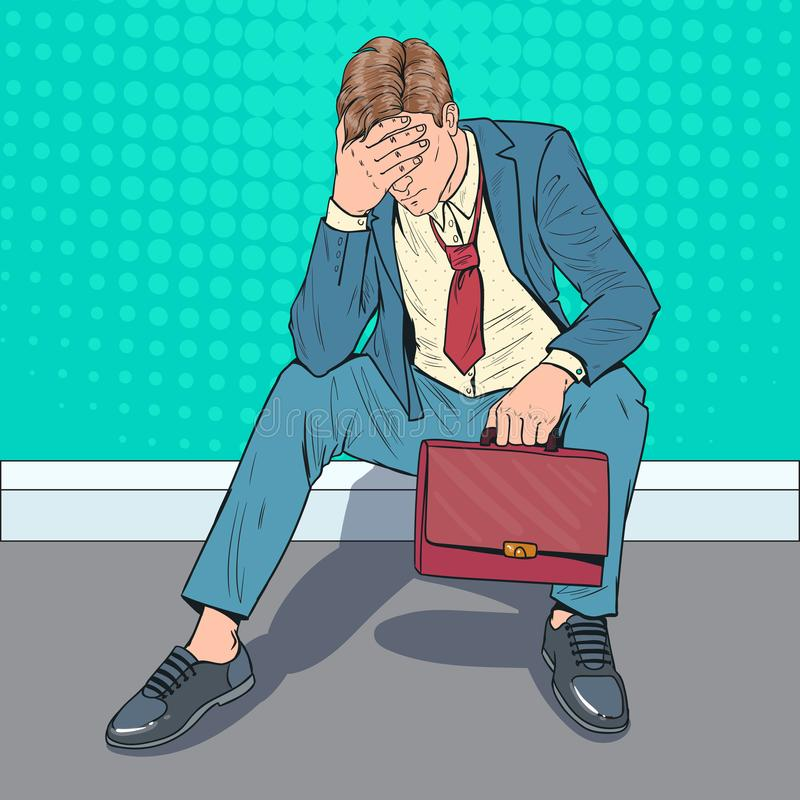 Estallido Art Stressed Businessman Sitting en el piso Hombre decepcionado cansado Oficinista de la desesperación stock de ilustración