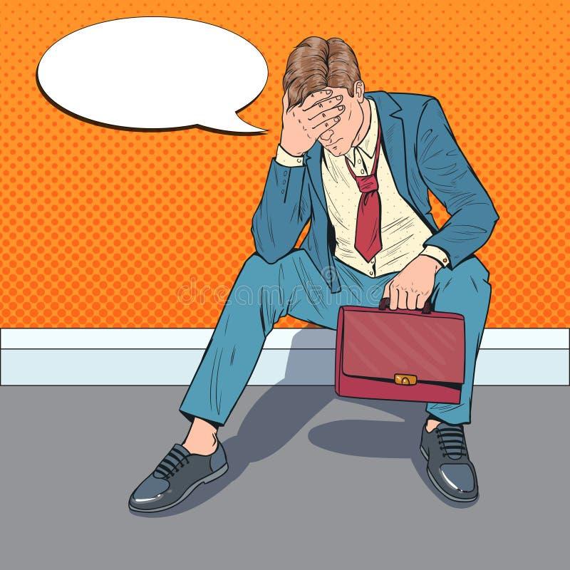Estallido Art Stressed Businessman Sitting en el piso Hombre decepcionado cansado Oficinista de la desesperación libre illustration