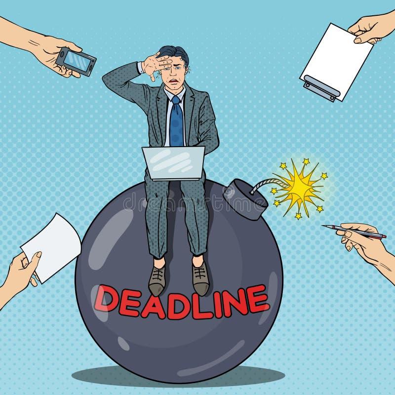 Estallido Art Stressed Businessman Working en bomba stock de ilustración