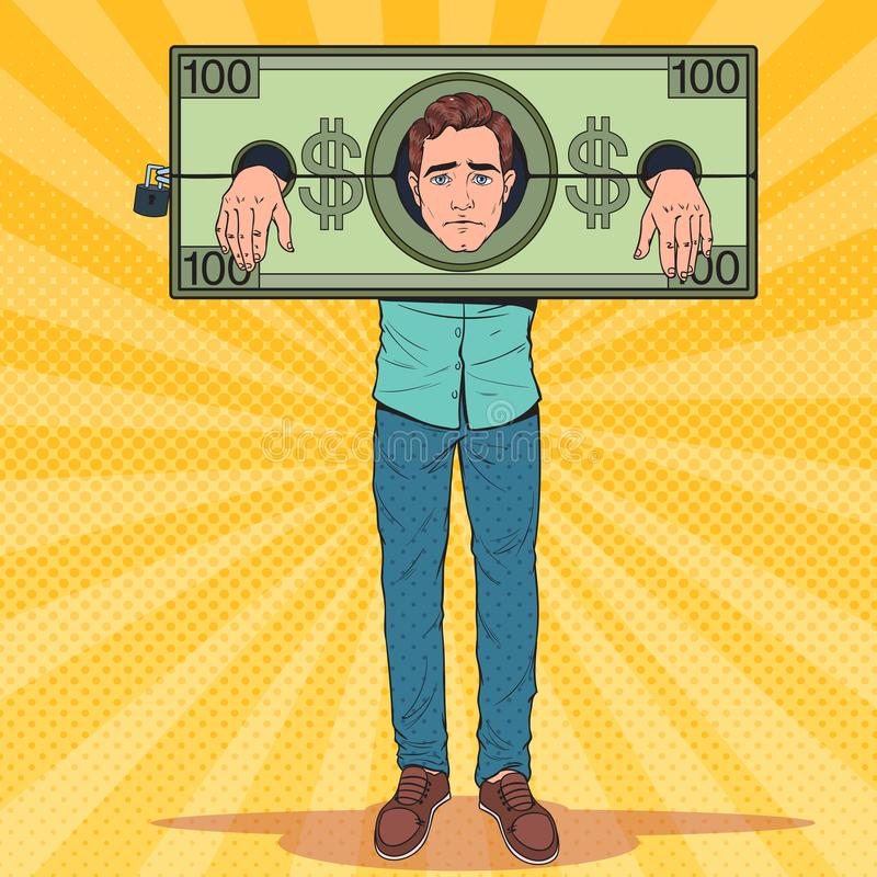 Estallido Art Stressed Man Prisoner del dinero Hombre de negocios cansado en grillos del dólar stock de ilustración