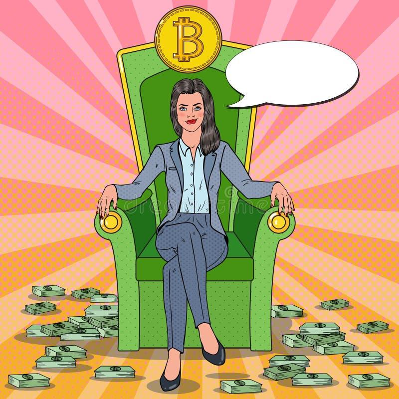 Estallido Art Successful Business Woman Sitting en el trono con Bitcoin y las pilas del dinero Concepto Crypto del mercado de mon libre illustration