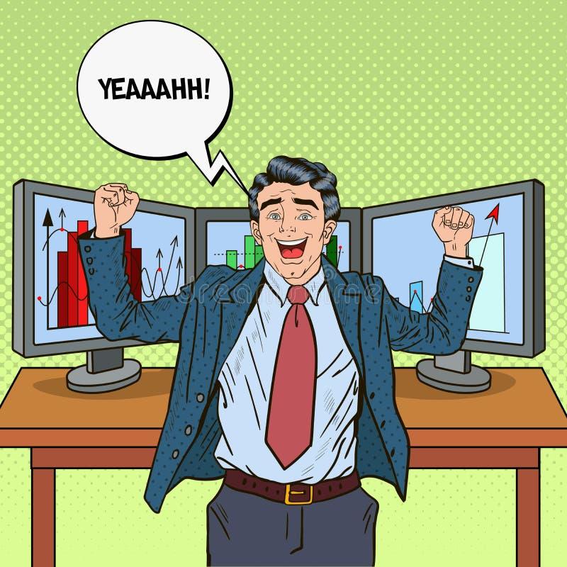 Estallido Art Successful Businessman con los ordenadores stock de ilustración