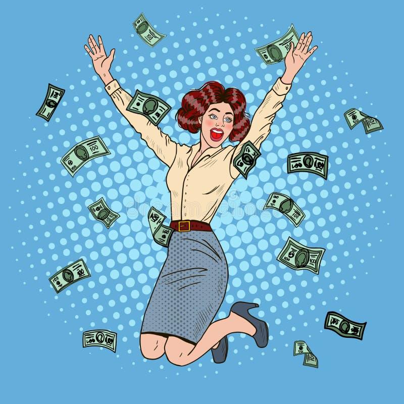 Estallido Art Successful Jumping Business Woman ilustración del vector