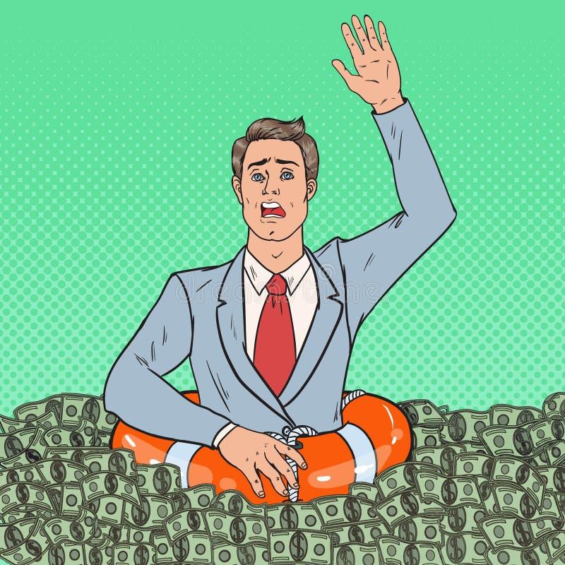Estallido Art Successful Man Sinking en dinero Hombre de negocios con salvavidas stock de ilustración