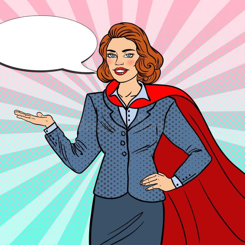 Estallido Art Super Businesswoman en cabo rojo ilustración del vector