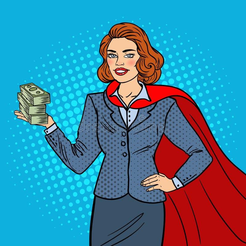 Estallido Art Super Businesswoman en cabo rojo con el dinero Éxito de asunto libre illustration