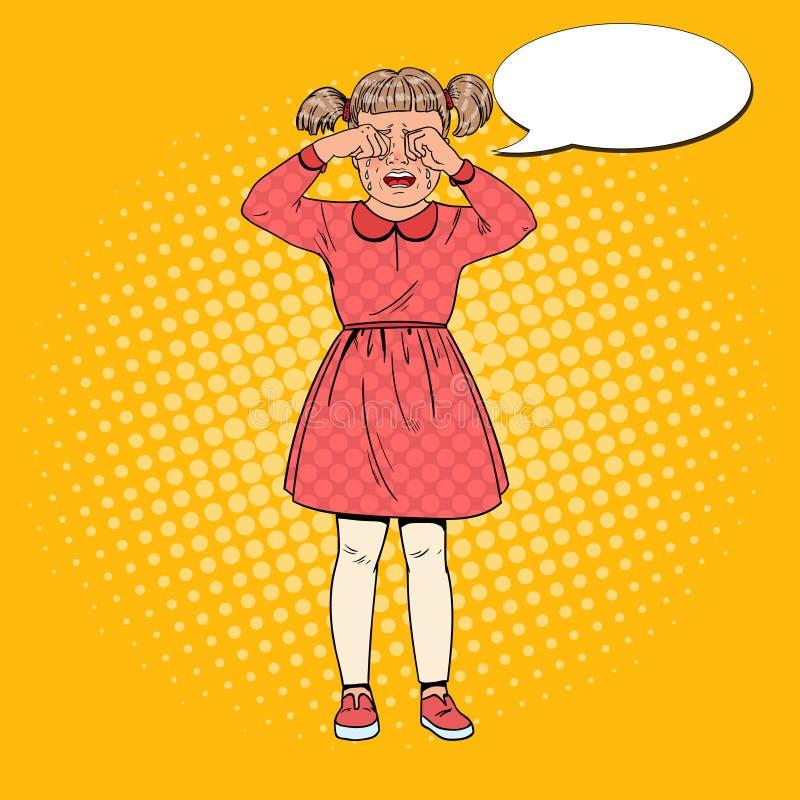 Estallido Art Unhappy Little Girl Crying con los rasgones Expresión facial del niño triste Niño lloroso ilustración del vector