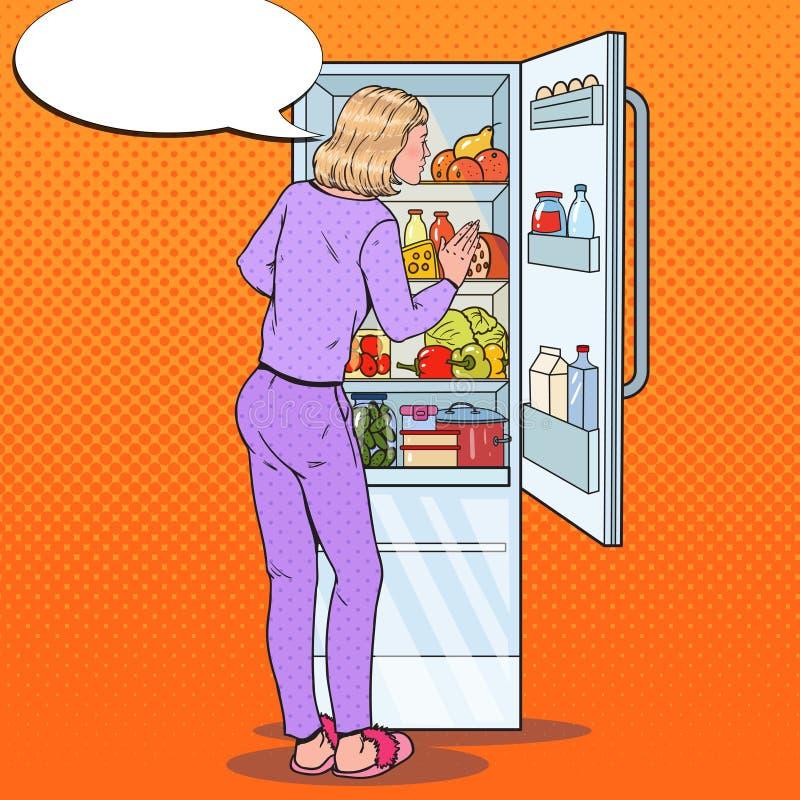Estallido Art Woman Choosing Food del refrigerador Consumición sana, concepto de dieta stock de ilustración