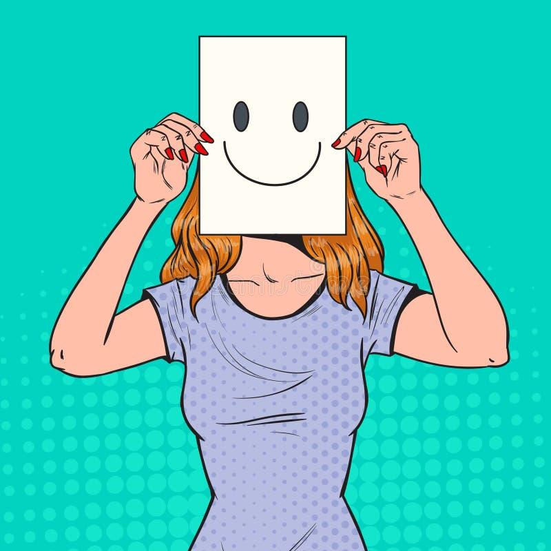 Estallido Art Woman con Smiley Emoticon en la hoja de papel Muchacha feliz que sostiene un Emoticon sonriente de la cara libre illustration