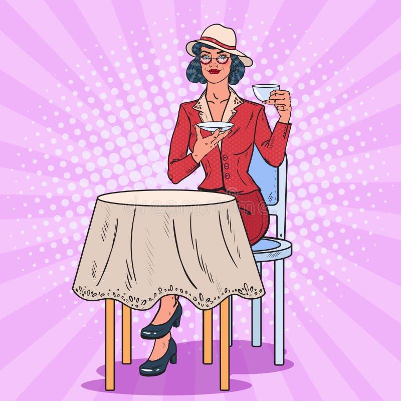 Estallido Art Woman Drinking Tea en café Descanso para tomar café stock de ilustración